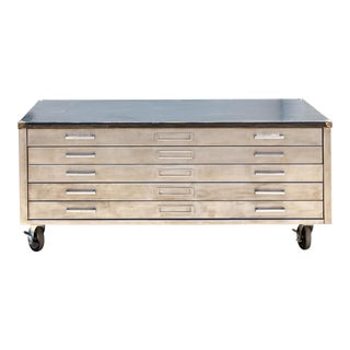 Vintage Raw Steel 5-Drawer For Sale