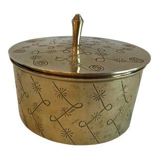 Vintage Round Brass Lidded Starburst Design Box