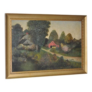 19th Century Barn & Farm House Country Landscape For Sale