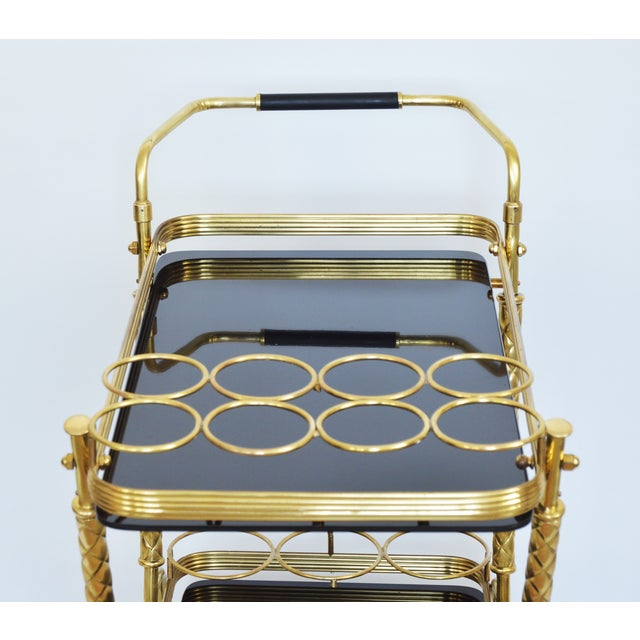 Vintage Italian Brass and Black Glass Bar Tea Cart Mid-Century Modern McM- Cesare Lacca Aldo Tura Style Venetian Millennial For Sale - Image 10 of 11