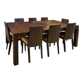 Modern Dining Table & Leather Chairs For Sale