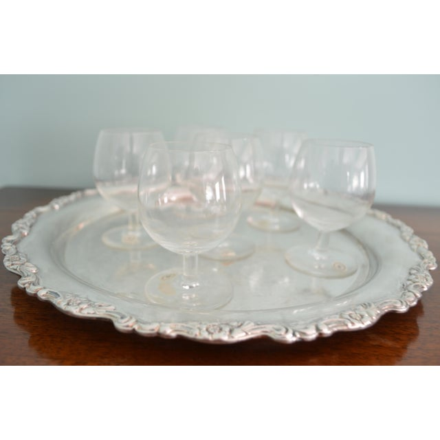 A vintage tray and glasses set. Lovely set of six Val St-Lambert of Belgium cordial glasses (have labels) and a silver...