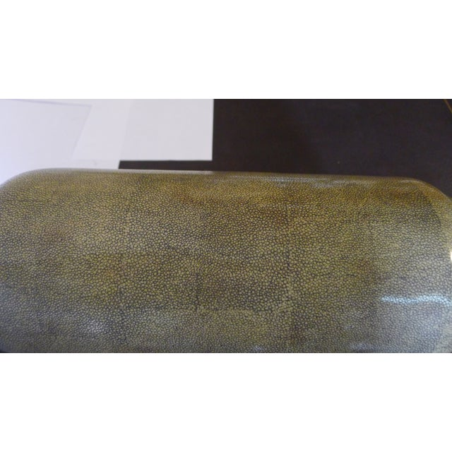 Green Shagreen Texture Modern Chinese Vase For Sale - Image 8 of 10