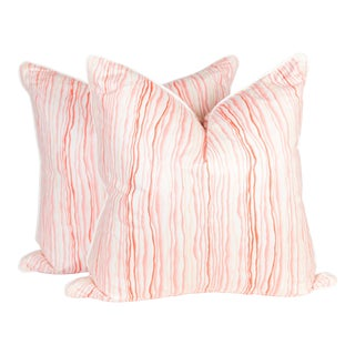 Pink Squiggle Pillows - A Pair
