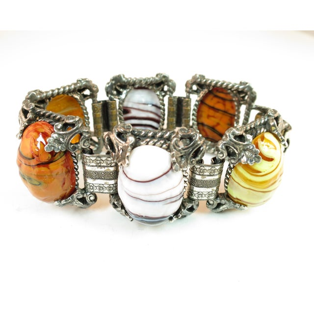 Mid-Century Selro Agate Art Glass Florentine Link Bracelet, 1950s For Sale In Los Angeles - Image 6 of 13