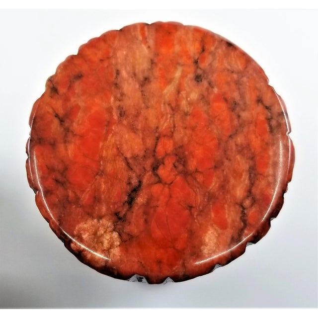 Mid-Century Modern Vintage 1950s Red Alabaster Jewelry Box With a Fois Bois Tree-Like Carved Texture For Sale - Image 3 of 13