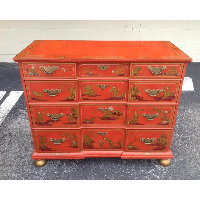 Finely made, with attention to detail - in the 18th century style. Beautiful Chinese red background adorned with a...