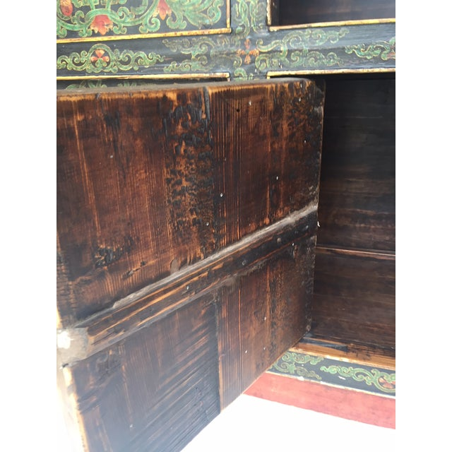 Wood Vintage Chinese Tibetan Cabinet For Sale - Image 7 of 13