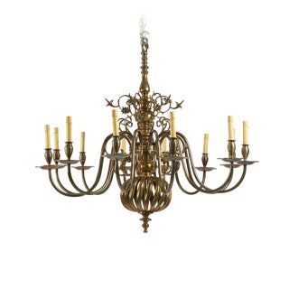 Baroque Style Brass Chandelier For Sale