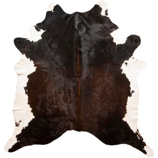 Contemporary Brown Cowhide Rug - 7′11″ × 8′4″ For Sale