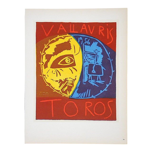 Vintage Mid Century Color Lithograph-Picasso-Printed By Mourlot - Image 1 of 3