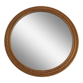 "1940s Large 32"" Diameter Round Giltwood Mirror For Sale"