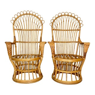 Vintage Pencil Reed Rattan Fan Back Chairs- a Pair For Sale