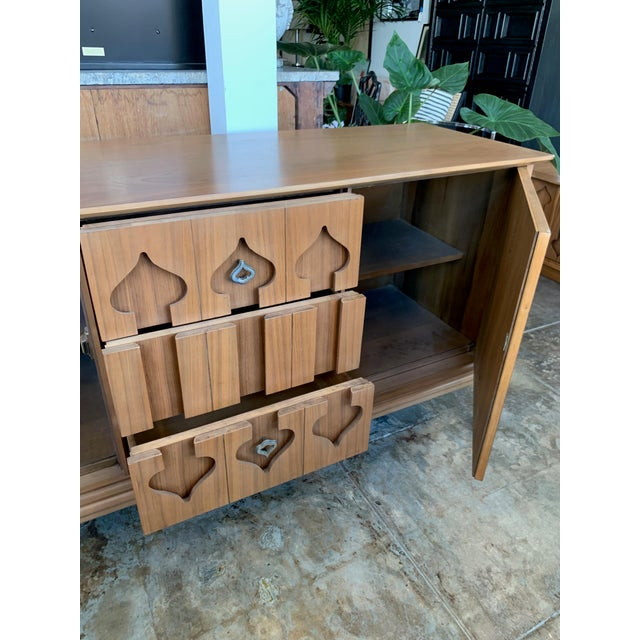 """Mid 20th Century Mid-Century Modern Low Walnut Credenza Cabinet Carved """"Spade"""" Fruit For Sale - Image 5 of 9"""
