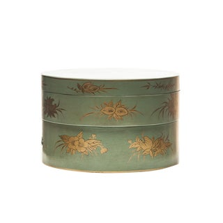 Lawrence & Scott Two-Tier Stacking Hand-Painted Chinoiserie Leather Floral Sewing Box For Sale