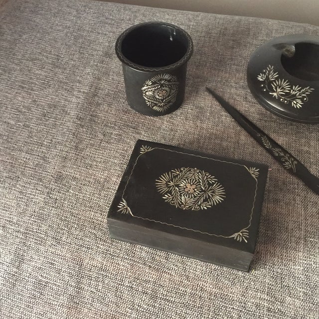 Hand Embossed Charcoal Metal Smoking Set For Sale - Image 7 of 7