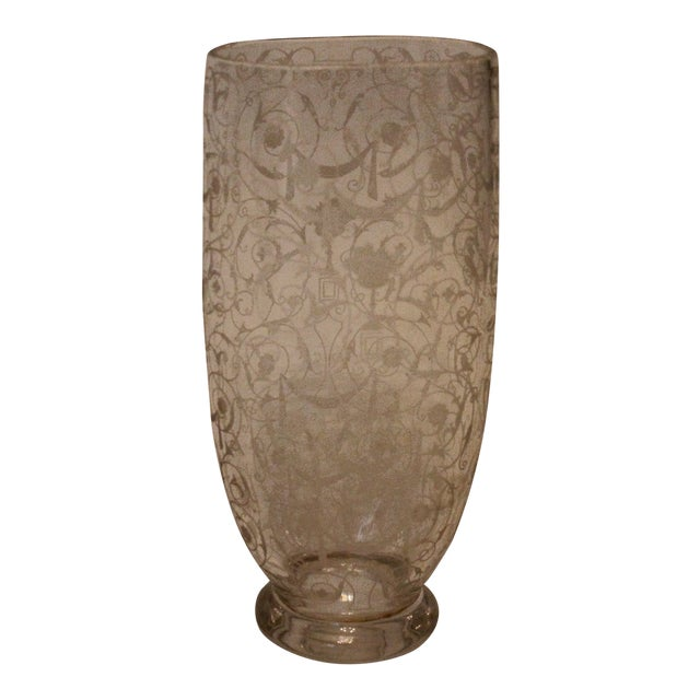 French Filigree-Etched Oval Glass Vase For Sale