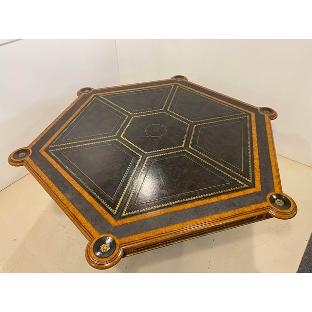 Maitland-Smith Embossed Leather Game Table For Sale In Houston - Image 6 of 12