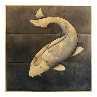 Vintage Stylized Suede Trapunto Koi Fish Wall Art in Brass Frame Signed M For Sale