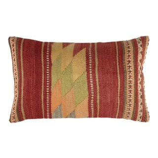 "Mid-Century Rustic Kilim Lumbar Pillow | 12"" X 20"" For Sale"