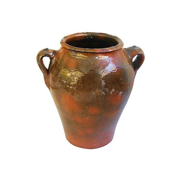 Large French Antique Brown Glazed Confit Pot - Image 1 of 6