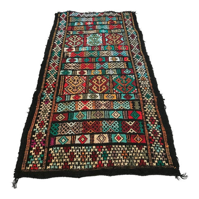 Mid 20th Century Vintage Woven Table Runner Rug- 3′4″ × 1′7″ For Sale