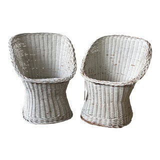 1970s Boho Chic White Wicker Side Chairs - a Pair