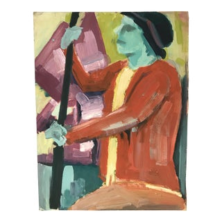 Vintage Figurative Gouache on Board