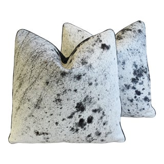 """Black, White & Gray Speckled Cowhide Feather/Down Pillows 21"""" Square - Pair For Sale"""