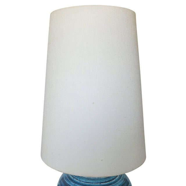 Mid-Century Variegated Blue Striped Glazed Ceramic Lamp - Image 2 of 6