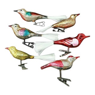 Vintage Colorful Mercury Glass Vintage Clip-On Bird Ornaments- Set of 6 For Sale