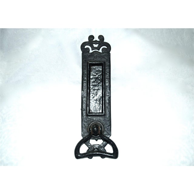 Antique Art Nouveau mail slot with attached door knocker is cast iron. Works well with fine resonant knock, and with good...