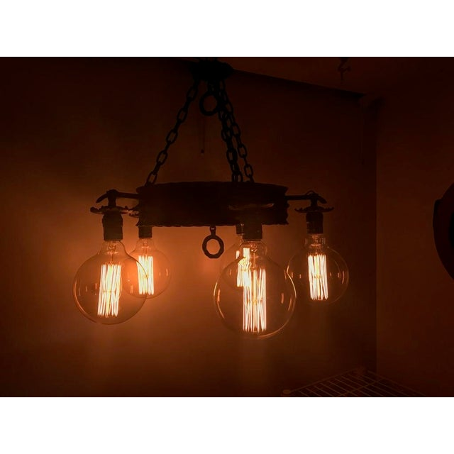Vintage Farm Exposed Bulb Chandelier Image 3 Of 5