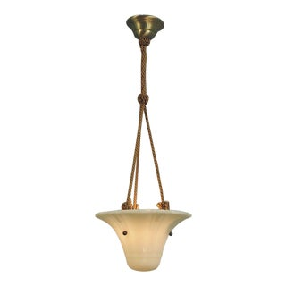 Small Deco Hanging Pendant-Chandelier-Ceiling Fixture With French Cordelier For Sale