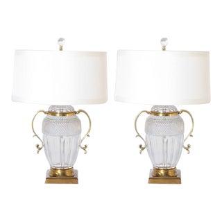 Pair of Marbro Crystal Marbro Lamps, C. 1950