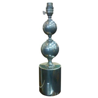 Brushed steel table lamp by Philippe Barbier - France 1970's - Ipso Facto For Sale