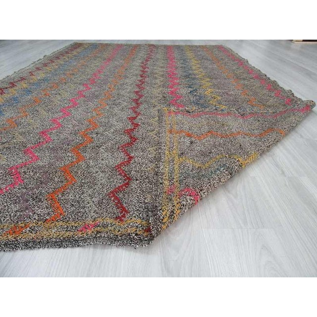 Islamic Vintage Turkish Kilim Embroidered Decorative Rug - 6′2″ × 9′3″ For Sale - Image 3 of 6