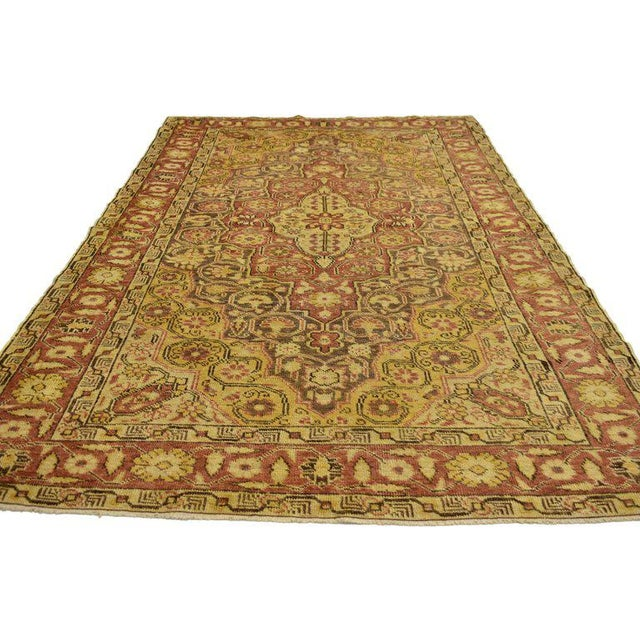 20th Century Rustic Turkish Oushak Accent Rug - 4′4″ × 6′10″ For Sale In Dallas - Image 6 of 7