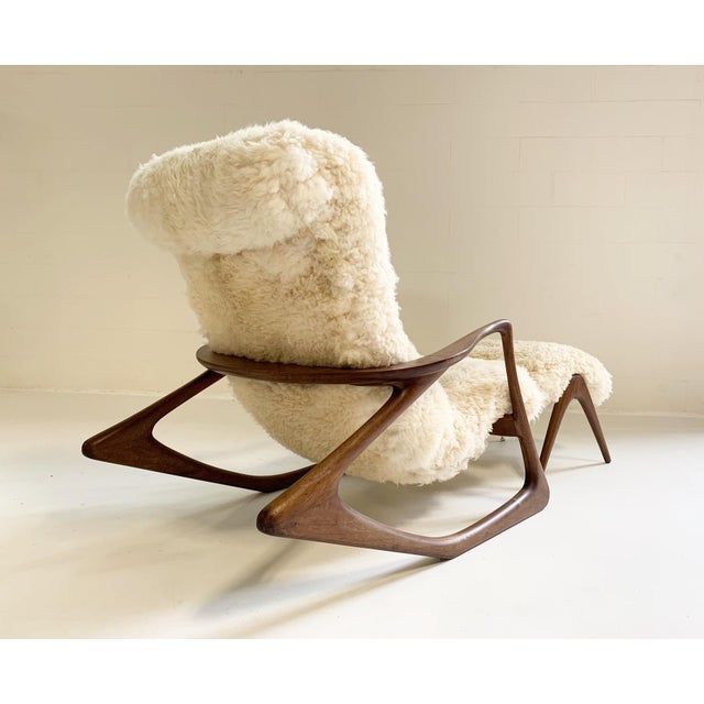 White Vladimir Kagan Sculpted Rocking Chair and Ottoman in California Sheepskin For Sale - Image 8 of 9