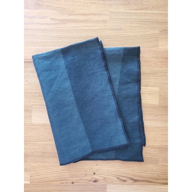 Tea Towels Blue/Green Two Tone - a Pair For Sale - Image 4 of 4