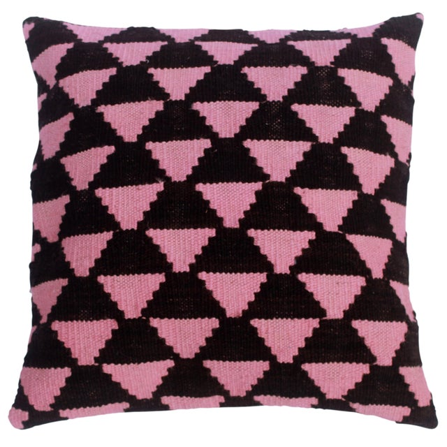"Deneen Black/Pink Hand-Woven Kilim Throw Pillow(18""x18"") For Sale"