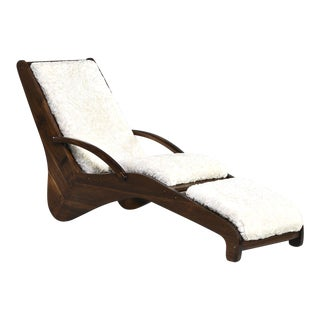 Mid-Century Italian Chaise Lounge With Faux Shearling Upholstery For Sale