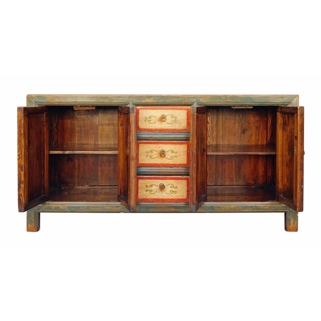 Chinese Distressed Graphic Console Table Cabinet cs2030C - Image 7 of 8