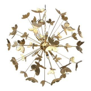 24 Karat Gold Butterfly Sputnik Chandelier For Sale
