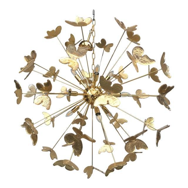 24 Karat Gold Butterfly Sputnik Chandelier For Sale