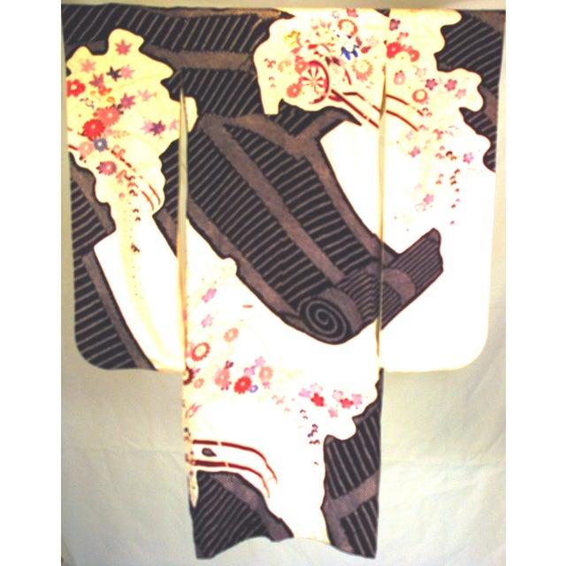 Vintage Silk Traditional Furisode Kimono - Image 3 of 9