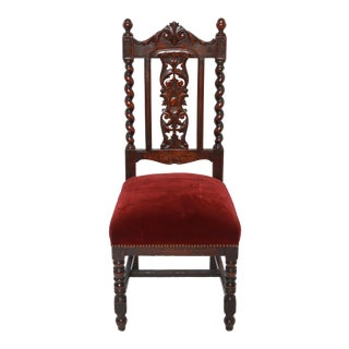 Jacobean English Carved and Turned Wood Side Chair For Sale