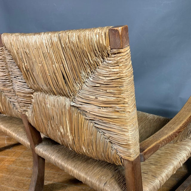 Large 1940s Continental Woven Rush 3-Seat Settee For Sale - Image 11 of 13