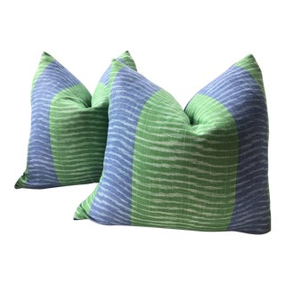 """Thibaut """"Wavelet"""" in Blue and Green Down Filled Pillows - a Pair For Sale"""