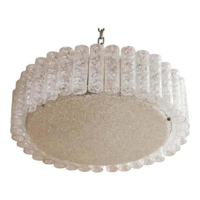 Kalmar Mid-Century Modern Frosted Glass Circular Ceiling Light Pendant For Sale
